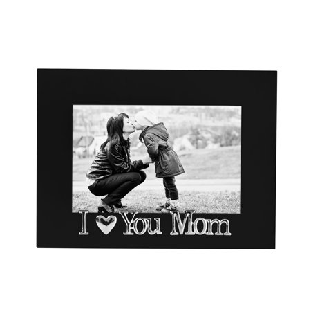 I Love You Mom Black Picture Frame, Glass Front - Fits Photos 4x6 - Easel Back for Table Top Display