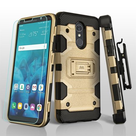 LG Stylo 4 Case / LG Stylo 4 Plus Cover - Holster Shockproof Kickstand Hard  Belt Clip Heavy Duty Hybrid Phone Cover with Tempered Glass Screen