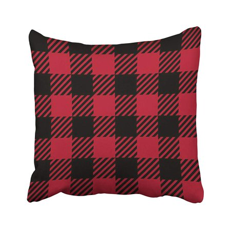 Crimson Plaid - ARTJIA Black Abstract Ruby Lumberjack Buffalo Plaid Red Checkered Crimson Diagonal Pillowcase Cushion Cover 18x18 inch