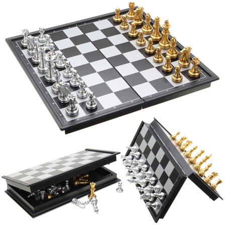 Mrosaa Magnetic Travel Chess Set with Folding Chess Board Educational Toys for Kids and Adults, 9.8""
