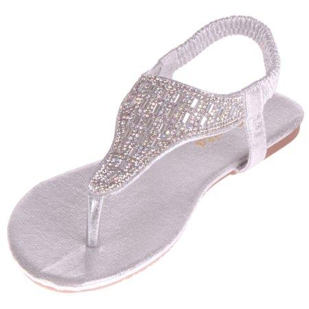 dcfe23e60 Enimay - Enimay Women s Flat Rhinestone Thong Sandal 1863 Silver 9 ...