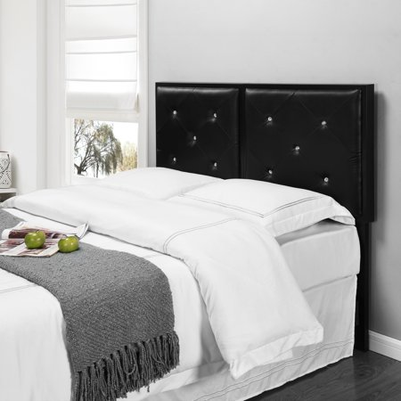 Clear Twin Size Headboard - Addisyn Black Faux Leather Crystal Tufted Full Size Upholstered Headboard (Metal Frame)
