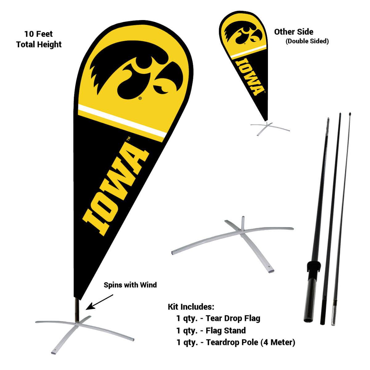 University of Iowa Hawkeyes Teardrop Flag Pole and Stand Kit