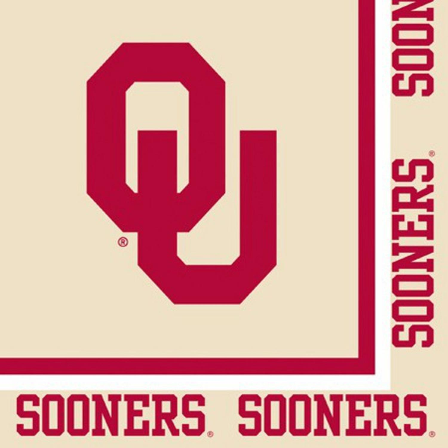 Club Pack of 240 NCAA Oklahoma Sooners 2-Ply Tailgating Party Lunch Napkins
