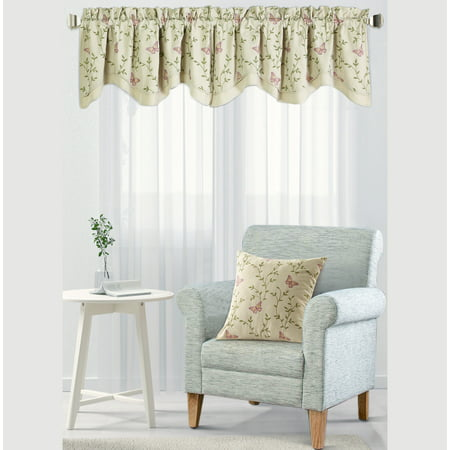 Serenta Embroidery Pillow Shell And Valance Set, Vine Butterfly, 20