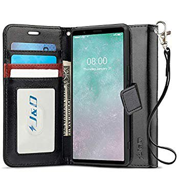 J&D Case Compatible for Sony Xperia 5 Case, [Wallet Stand] [Slim Fit] Heavy Duty Protective Shock Resistant Flip Cover with Card Slots for Sony Xperia 5 Wallet Case - Black (Sony Xperia J Case)