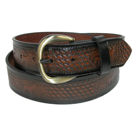 Hickory Creek  Mens Big   Tall Leather Deer Embossed Basketweave Belt