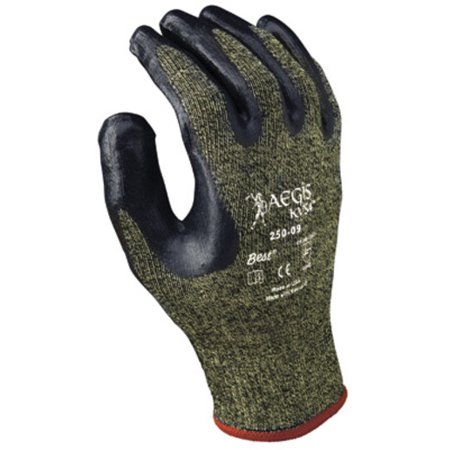 SHOWA Size 10 Aegis KVS4 13 Gauge Cut Resistant Black Nitrile Dipped Palm Coated Work Gloves With Yellow Seamless Stainless Steel And Polyester Reinforced Aramid Knit Liner And Elastic Knit Wrist