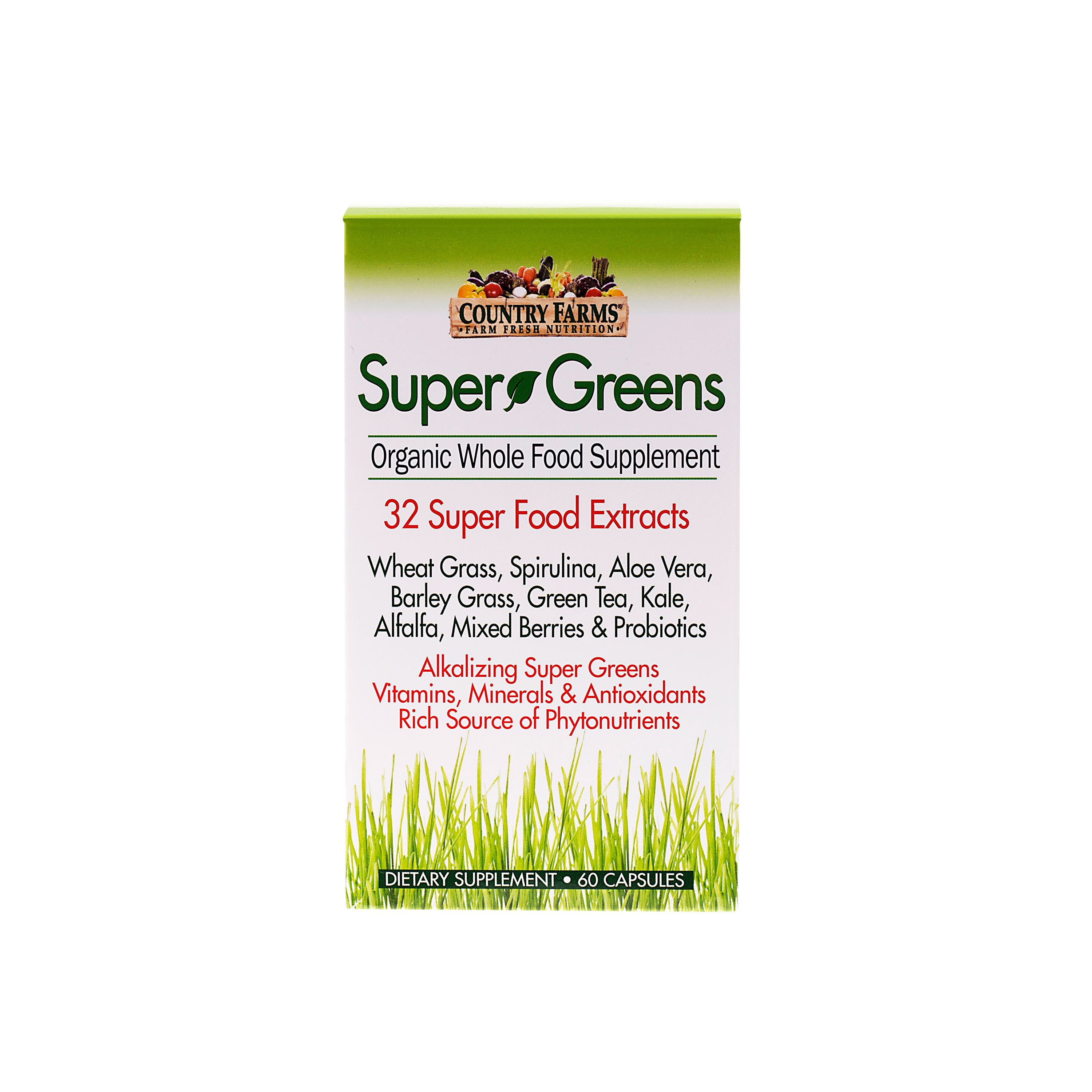 Country Farms Super Greens Superfood Dietary Supplement 60 Herbs Of Gold Breastfeeding Support Tablets Vegicapsules
