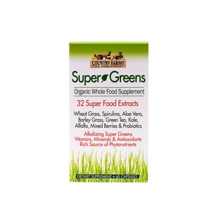 Country Green - Country Farms Super Greens Superfood Dietary Supplement, 60 VegiCapsules