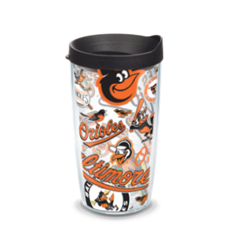 MLB Baltimore Orioles All Over 16 oz Tumbler with lid
