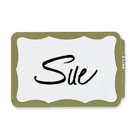 C-Line Self-Adhesive Name Badges, 3-1/2 x 2-1/4, Gold, 100/Box, Self-adhesive name badges have a tabbed edge that makes it easy to peel backing paper and.., By CLine