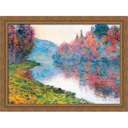 Banks Of The Seine At Jenfosse   Clear Weather 36X28 Large Gold Ornate Wood Framed Canvas Art By Claude Monet