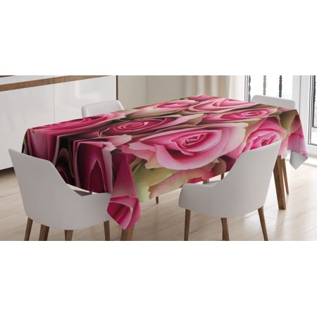 Rose Tablecloth, Blooming Fresh Pink Roses Festive Bridal Bouquet Romance Sweetheart Valentine, Rectangular Table Cover for Dining Room Kitchen, 52 X 70 Inches, Pink Pale Green, by Ambesonne (Bridal Tablecloths)