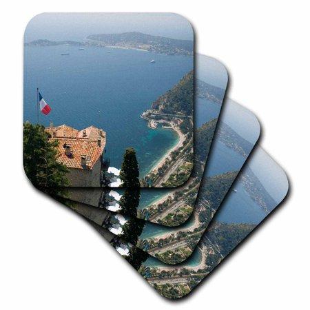 Friendly Village Coaster - 3dRose Eze-Village and Cap Ferrat, Cote dAzur, France - EU09 SPI0196 - Sergio Pitamitz, Soft Coasters, set of 4