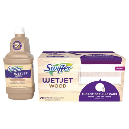 Swiffer WetJet Wood Mopping Solution Refill and 20 count Swiffer WetJet Mopping Pads 20' Blue Cleaner Floor Pads