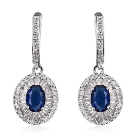 - 925 Sterling Silver Cubic Zircon Blue White Cubic Zirconia CZ Dangle Drop Earrings Cttw 2