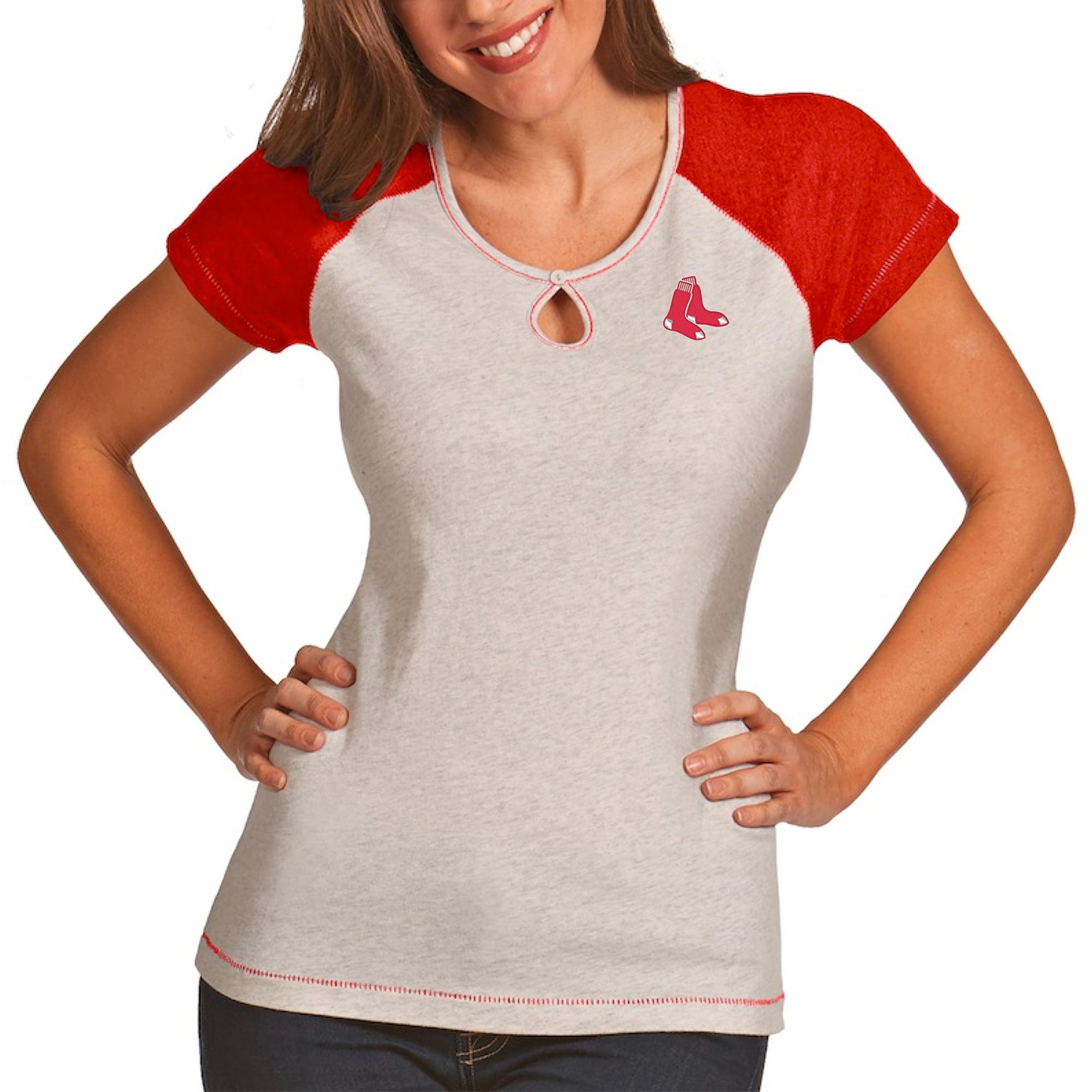 Boston Red Sox Antigua Women's Crush T-Shirt - White/Heather Red