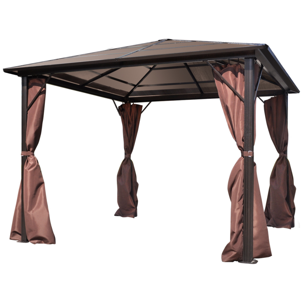 Outdoor Gazebo with Brown Curtain Aluminum 10' x 10' Weather-resistant