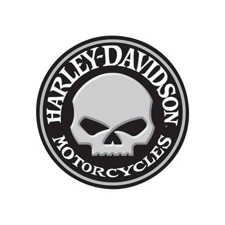 Harley-Davidson Embossed Willie G Skull Button Round Tin Sign, 14 inch 2011021, Harley Davidson (Burton Sign)
