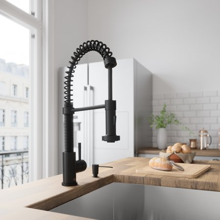 VIGO Matte Black Pull-Down Spray Kitchen Faucet