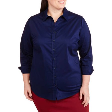 George Women's Plus-Size Wrinkle Resistant Career Button-Front Shirt