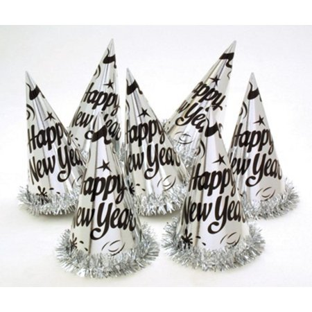 New Year Party Hats (Club Pack of 12 Happy New Year Silver Paper Party Hats with Metallic Fringe)