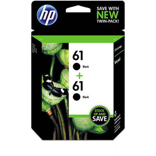 HP 61 Black Original Ink Cartridges, Twin Pack (CZ073FN)