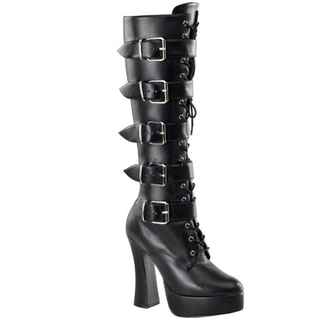 Gothic Boots 5 Inch Chunky Heel Lace Up Buckle Straps 1 1/2 Inch Platform Black](Gothic Shoes And Boots)