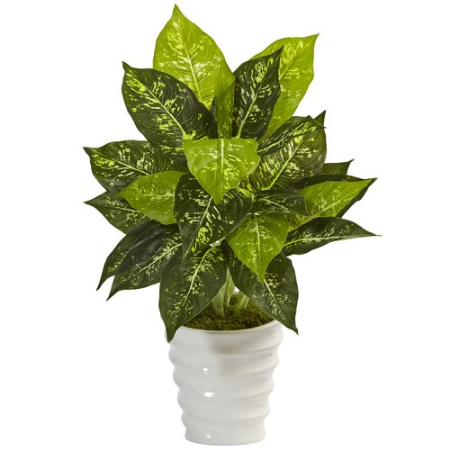 Bay Isle Home Artificial Plastic Dieffenbachia Floor Foliage Plant