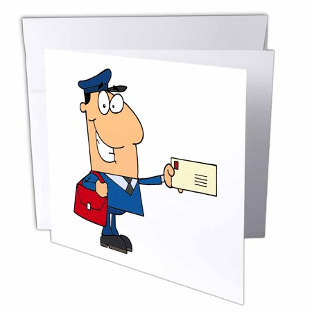 3dRose Happy Mailman Postal Worker Delivering Letter, Greeting Cards, 6 x 6 inches, set of 6