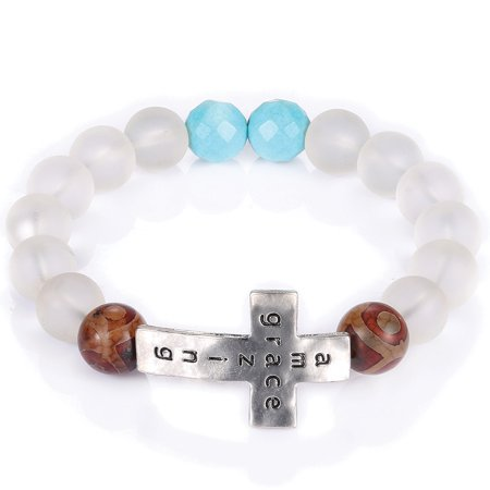 Amazing Grace Imprinted Cross Bracelet - One Size Fits Most - Frosted - Imprint Bracelets