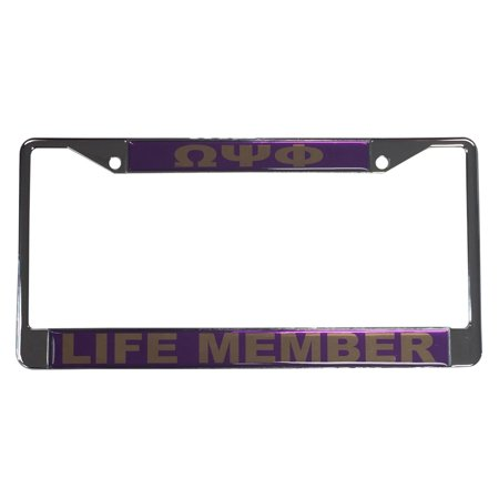 Omega Psi Phi Silver License Plate Frame - Life Member - Walmart.com
