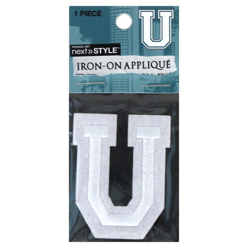 "Next Style Single Embroidery Letter, ""U"", White"