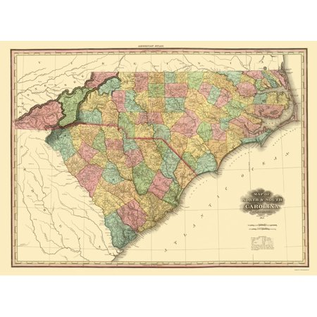 Old State Map - North Carolina, South Carolina - Tanner 1825 - 23 x ...