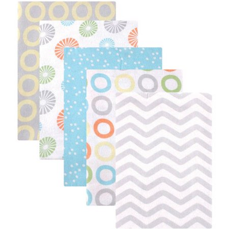 - Luvable Friends Baby Boy and Girl Flannel Receiving Blanket, 5-Pack - Neutral Pinwheel