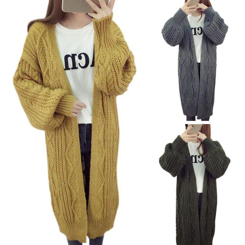 Women Long Loose Knitted Jumper Lady Warm Cardigan Outwear Sweater Jacket Coat