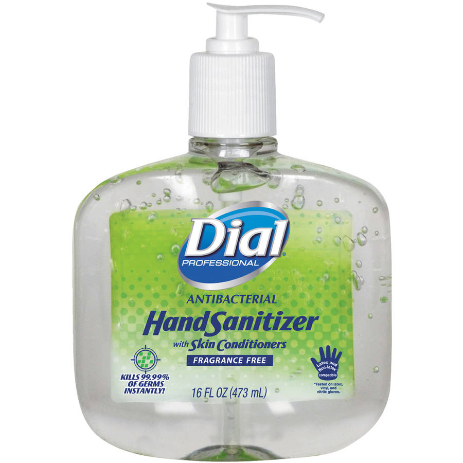 Dial Professional Antibacterial Hand Sanitizer w/Moisturizers, 16oz Pump, Fragrance-Free, 8/Carton