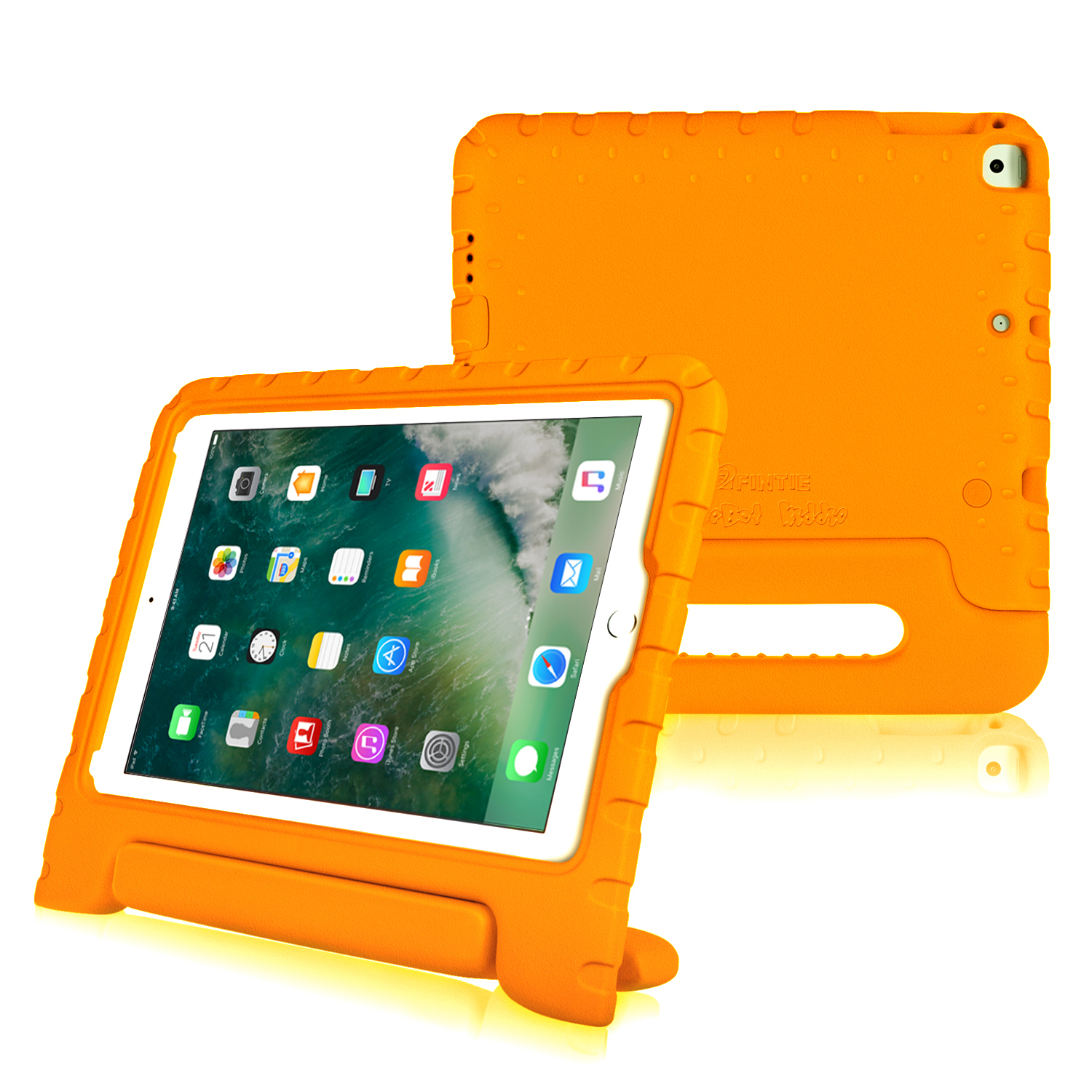 "Fintie iPad 9.7"" 6th/5th Gen 2018 2017, iPad Air/ Air 2 Convertible Handle Kiddie Case Bumper Cover, Orange"