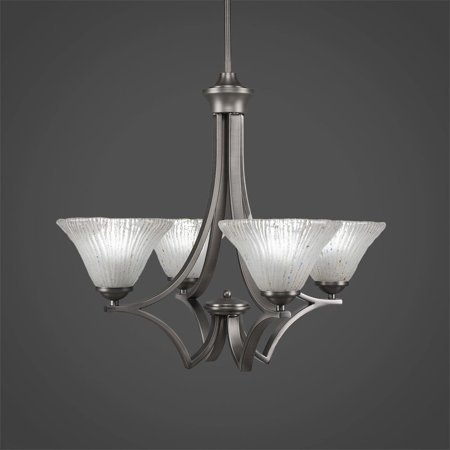 Toltec Lighting-564-GP-751-Zilo - Four Light Chandelier  Graphite (Chandelier Toltec Lighting)