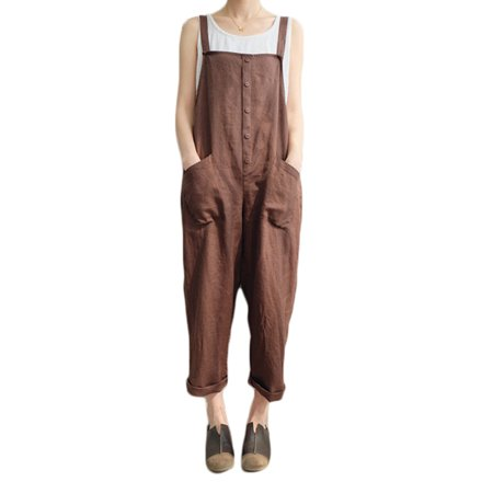 Women's Jumpsuits Sleeveless Pockets Overalls Harem Pants (Adult Overalls)