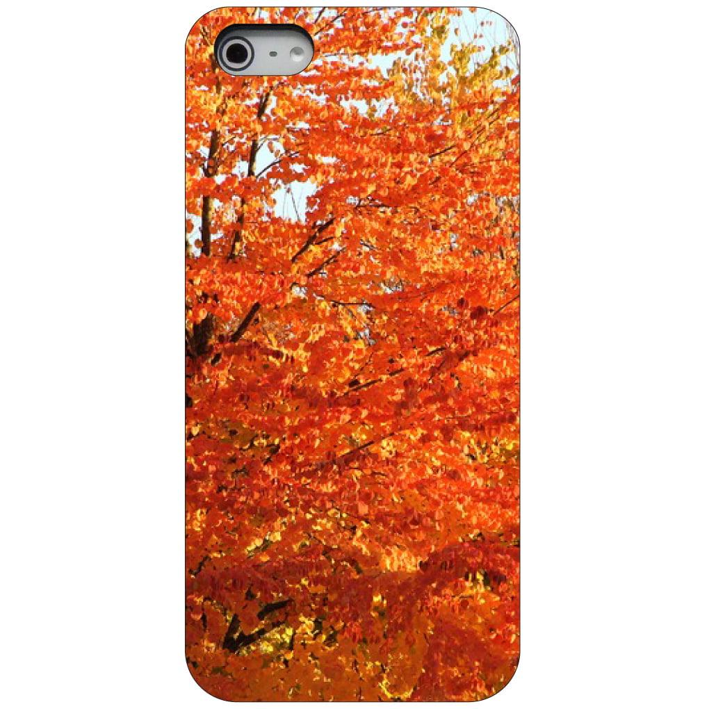 CUSTOM Black Hard Plastic Snap-On Case for Apple iPhone 5 / 5S / SE - Orange Autumn Leaves