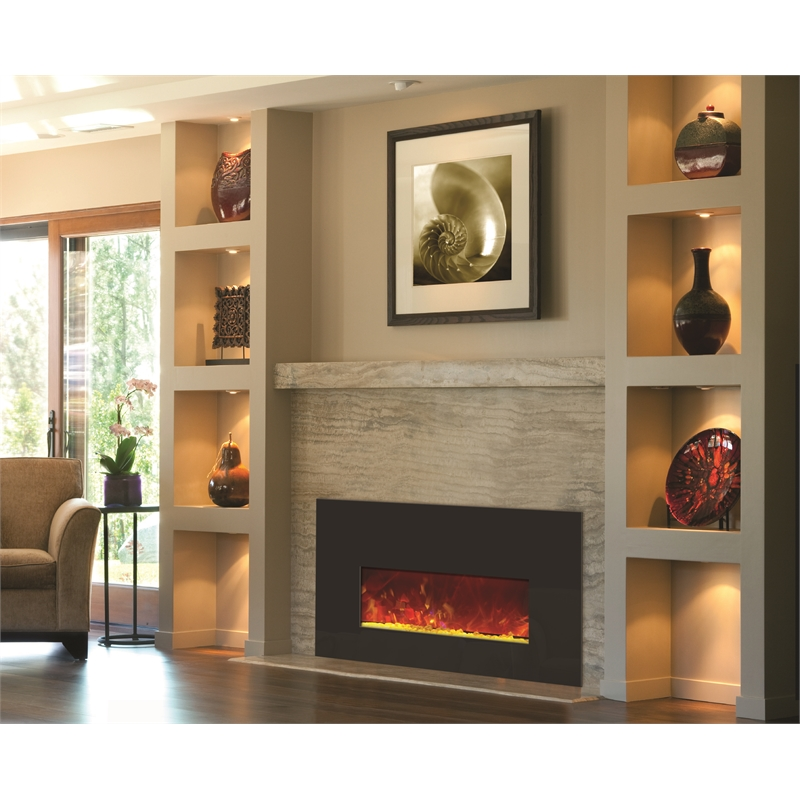 Amantii Small Insert Electric Fireplace with Black Glass Surround