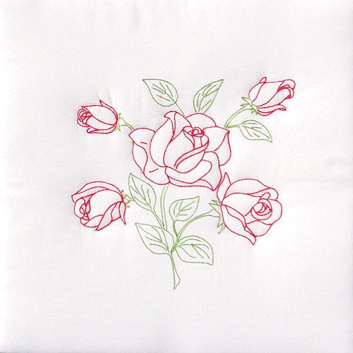 "Jack Dempsey Long Stem Rose Stamped White Quilt Blocks, 18"" x 18"""