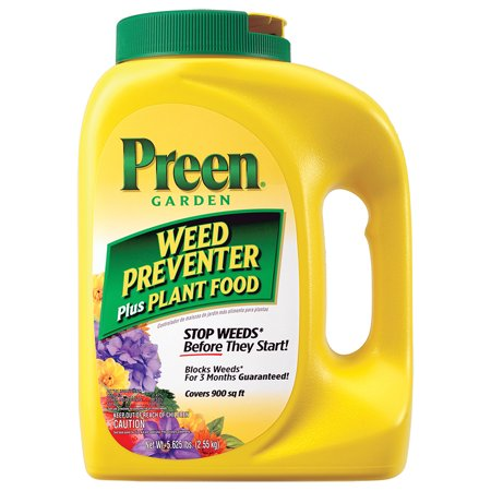 - PREEN Garden Weed Preventer Plus Plant Food, 5.625LB Covers 900 sq. ft