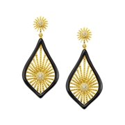 Morning Star Drop Earrings with Cubic Zirconia in 14kt Gold-Plated Sterling Silver