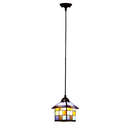 Bieye L10197 8-inches Mediterranean Tiffany Style Stained Glass Ceiling Pendant Fixture with (Mediterranean Light Fixtures)