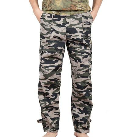 LELINTA Men's Cargo Pants Military Style BDU Pants Camo Woodland Camo Desert Cargo Camo Sweatpants Combat Work Pants (Sweatpants Camo Men)