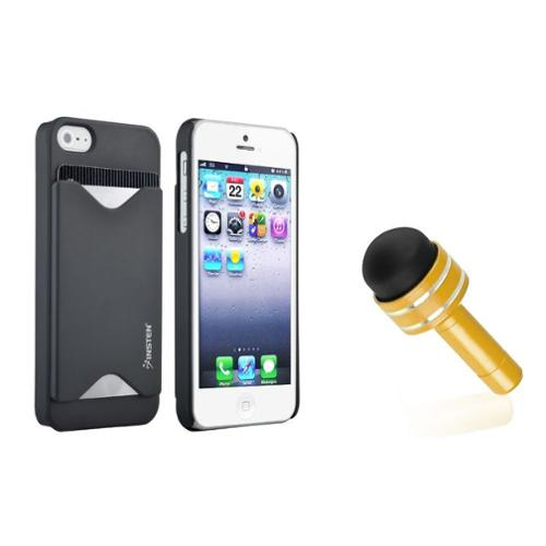 Insten Credit Card Holder Hard Case Black Cover For iPhone 5S 5+3.5mm Plug Pen