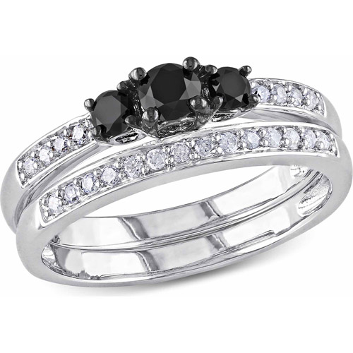 1/2 Carat T.W. Black and White Diamond Sterling Silver Three-Stone Bridal Set